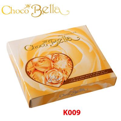Hộp giấy Trái tim Chocobella 50 gam (Hoa Hồng Vàng)