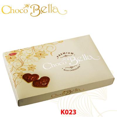 Hộp giấy Trái tim Chocobella 100 gam (Nền Vàng)