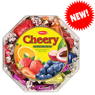 Kẹo mềm Cheery hộp nhựa Bát Giác 150 gam