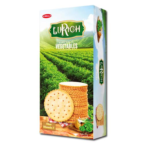Bánh Crackers Rau Củ Lurich hộp giấy 180 gam