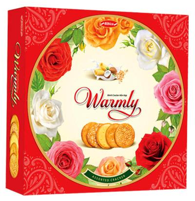 Bánh hộp thiếc Warmly Cracker hoa hồng 350 gam